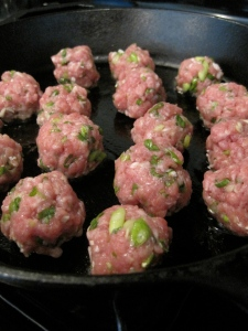 Cooking off the Pork Meatballs