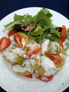 Fried Green Tomatoes with Buttermilk-Dill Dressing