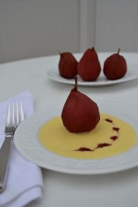 Poached Pear with Creme Anglaise
