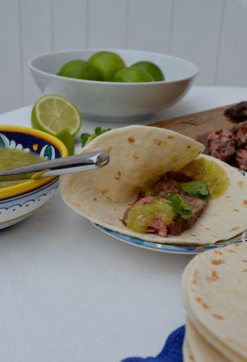Jalapeno & Lime Marinated Skirt Steak with Tomatillo Sauce