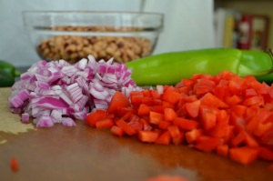 Finely Chopped Red Onion and Red Bell Pepper