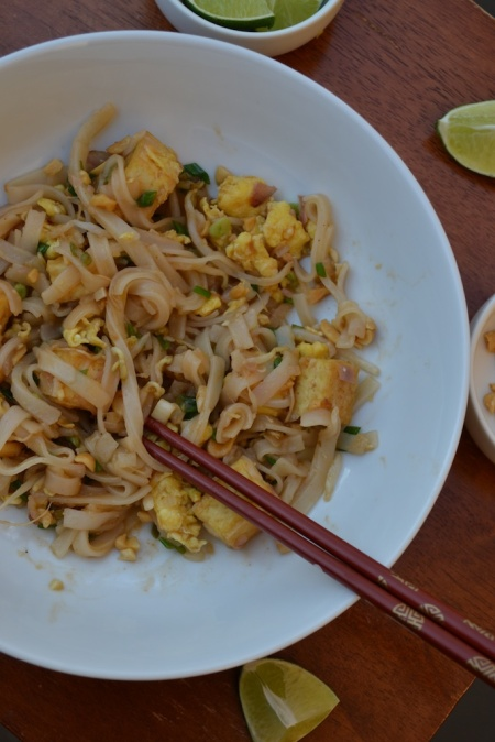 Vegetarian Pad Thai with Baked Tofu