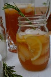 Ginger, Lemon, and Rosemary Sweet Tea Glass