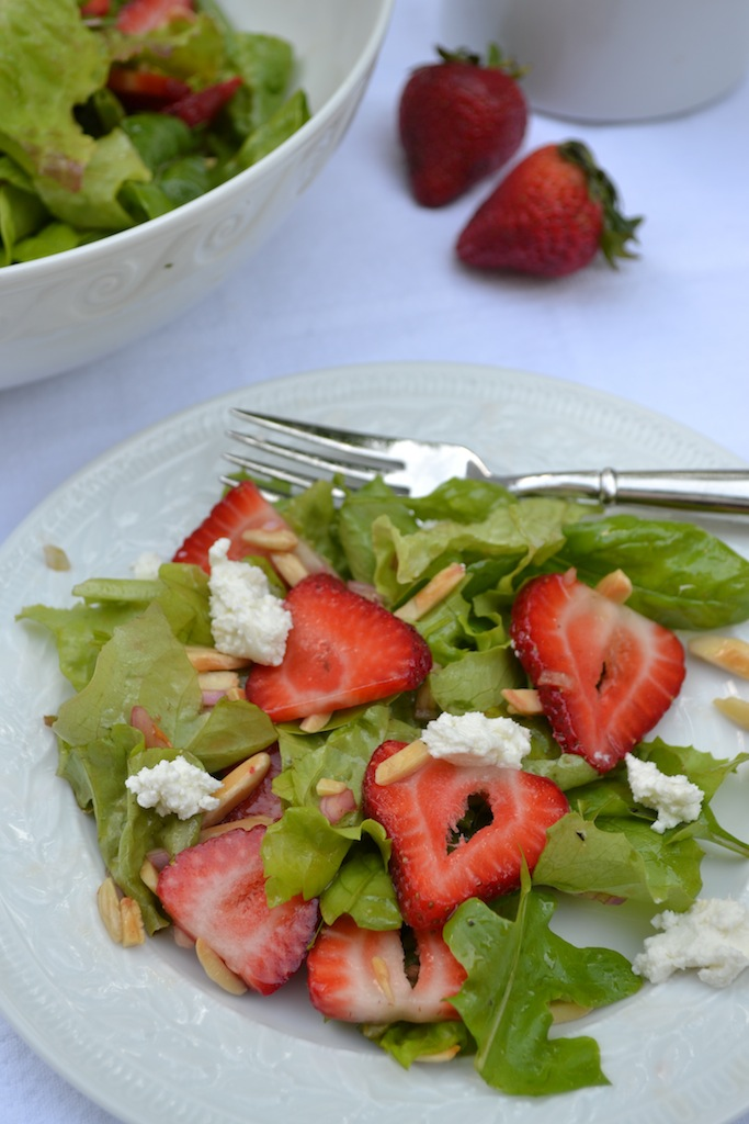 Mixed Green Salad with Strawberries, Toasted Almonds, and Goat Cheese