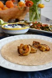 Shrimp on Whole Wheat Tortilla