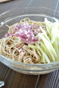 Soba Noodles with Red Onion and Julienned Cucumber