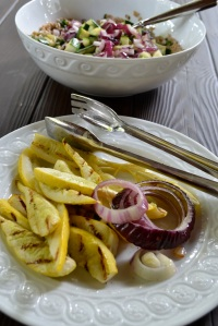 Grilled squash and red onion