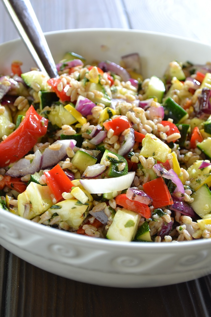 Grilled Vegetable and Farro Salad | Minced
