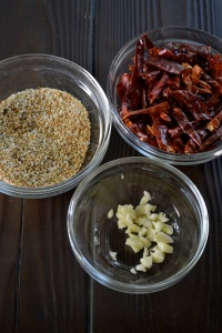 Spices, chopped garlic and chilies