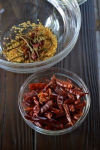 Stemmed and seeded chiles de arbol