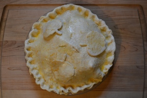Frozen pie ready for oven