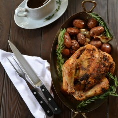 Herb-Roasted Chicken with Pan Gravy