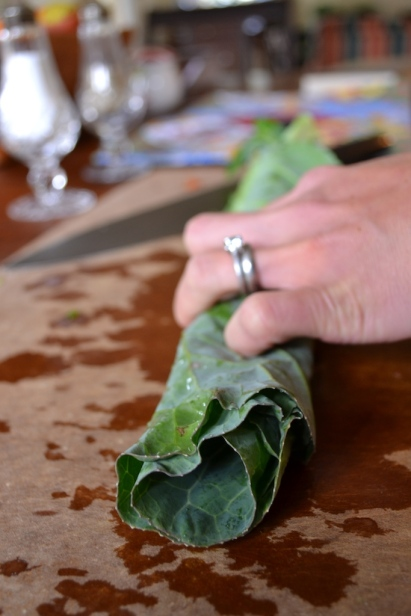 Cutting Collard Greens 4