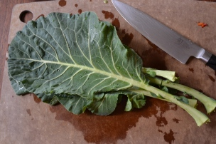 Cutting Collard Greens