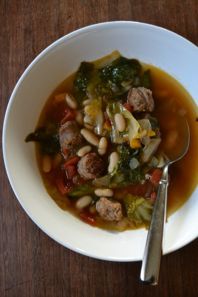 Sausage, Escarole, and Bean Soup with Spoon