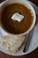 What's for Dinner Lentil Soup with a Dollop of Sour Cream and Beer bRead