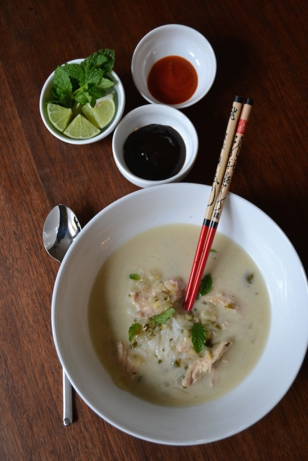 Vietnamese Chicken Noodle Soup with Condiments