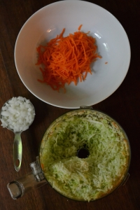 Grated Carrots, Shredded Cabbage, and Chopped Onion