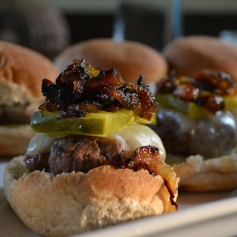 Beef Sliders with Spicy Mustard and Caramelized Onions