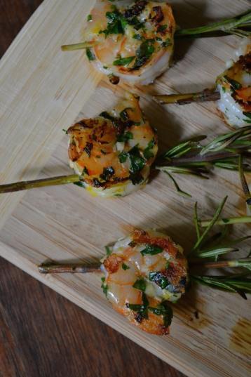Close-up Lemon-Garlic Shrimp
