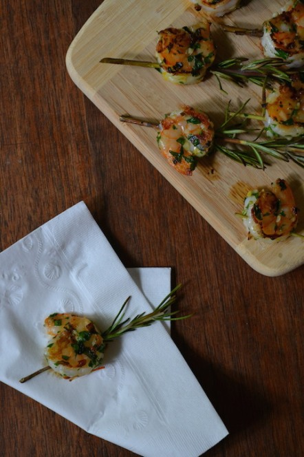 Lemon-Garlic Shrimp on Rosemary Skewers