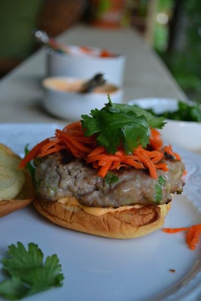 Banh Mi Burger with Sriracha Mayo
