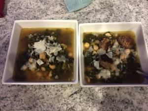 Chicken Stock into Kale and White Bean Soup