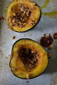 Baked Acorn Squash with Miso Butter and Walnuts