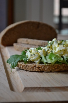 Homemade Rye Bread with Dill Egg Salad