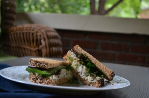 Chicken Salad Sandwich with Artichoke Hearts and Walnuts