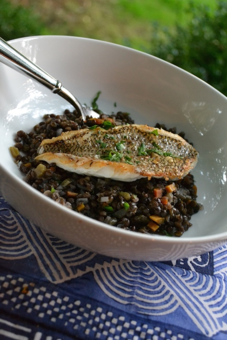 Pan-Seared Black Sea Bass over Black Lentils