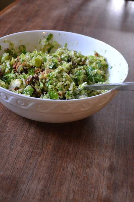 Brussels Sprout Slaw with Cranberries, Bacon & Pecans
