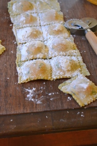 Cut the ravioli using a fluted pastry wheel