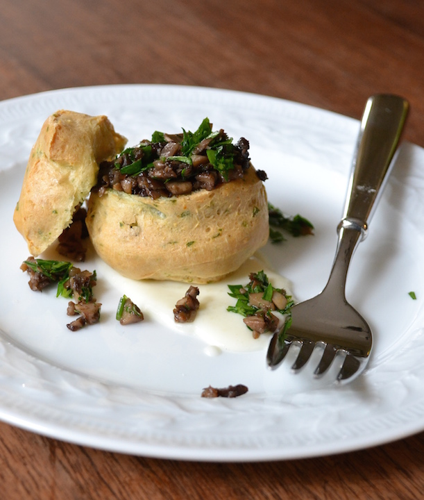 Parmesan Profiterole with Mushroom Duxelle and Mornay