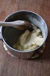 Pate a choux dough after adding flour