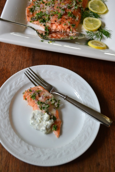 Slow-Roasted Salmon with Cucumber-Dill Sauce