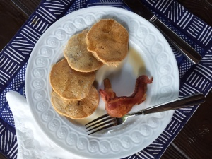 Whole Wheat Pancakes with Bananas and Pecans - Bacon