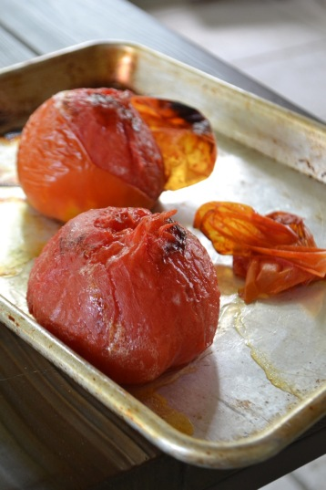 Skin removed from roasted tomatoes