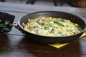 Frittata with Artichokes and Potatoes in Pan