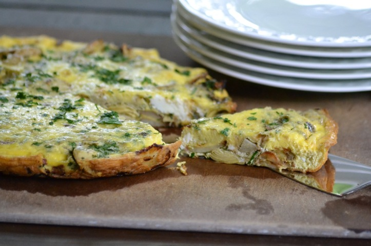 Wedge of Frittata with Artichokes and Potatoes