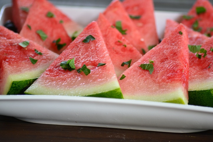 Close-Up Watermelon with Mint