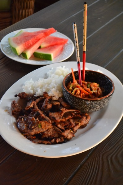 Korean Bulgogi with Steamed Rice & Kimchi
