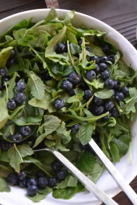 Arugula, Spinach, Mint and Blueberries