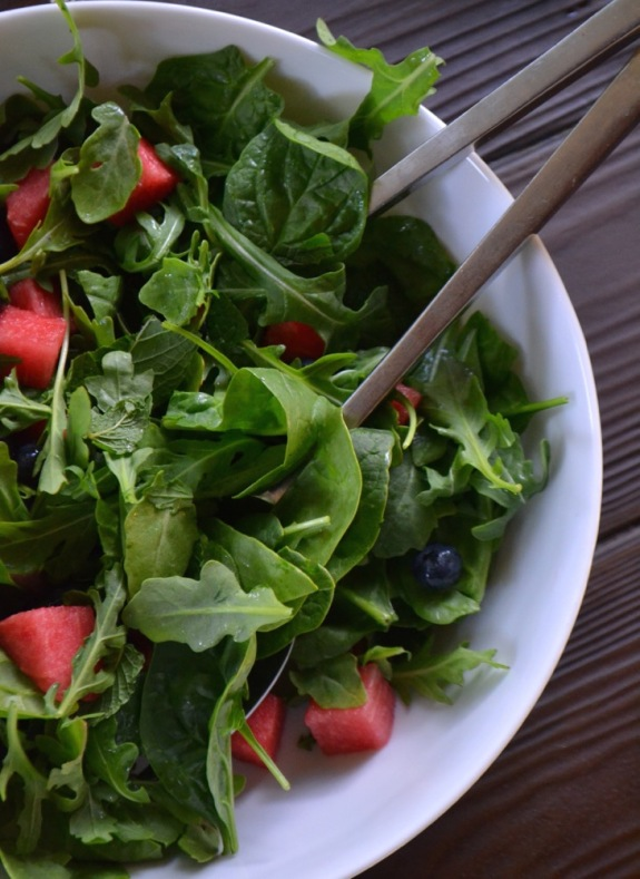 Watermelon and Blueberries with Greens
