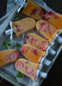 Cantaloupe, Strawberry & Mint Pops