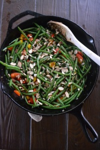 Sauteed Haricot Verts with Bell Peppers and Almonds
