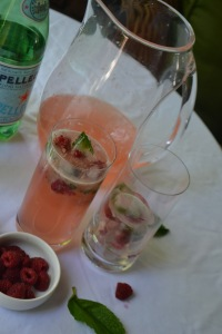 Pink Lemonade with Raspberry and Mint Ice Cubes