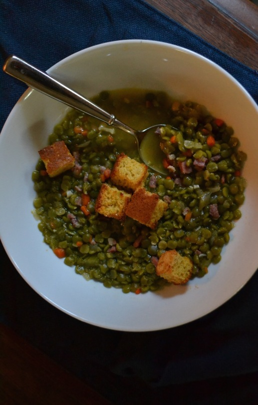 Split Pea Soup with Country Ham and Cornbread Croutons