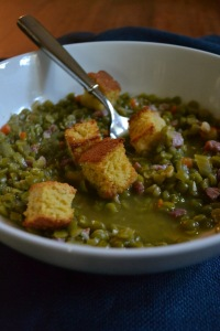 Split Pea Soup with Cornbread Croutons