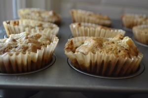 Close-up Pear, Cherry and Pecan Muffins